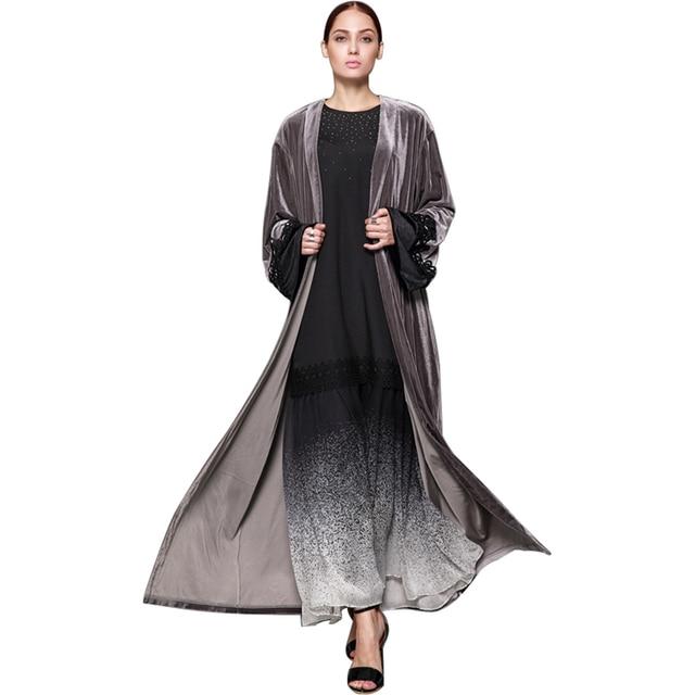 91334c3413a Babalet Womens  Modest Muslim Islamic Clothing Soft Full Length Open Front  Lace Sleeve Velvet Abaya