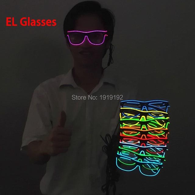 el glasses El Wire Fashion Neon Light Up Shutter Shaped Glow Sun ...