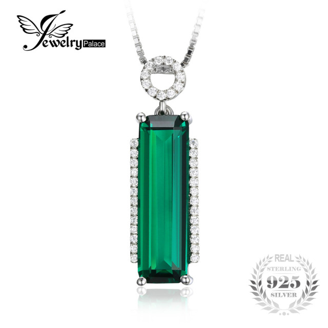 JewelryPalace 3ct Created Green Nano Russian Emerald Pendants 925 Sterling Silver Pendant Fine Jiwelry Exquisite Gift No Chain