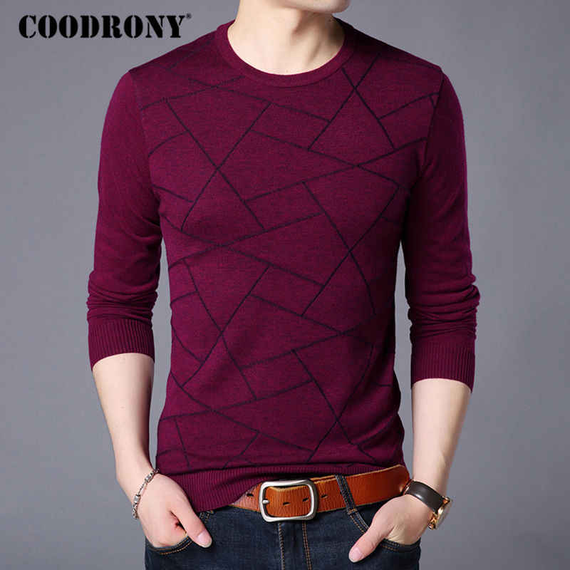 COODRONY Sweater Men Casual Striped O-Neck Jersey Pullover Men Clothing 2018 Autumn Winter Mens Warm Cashmere Wool Sweaters 8114