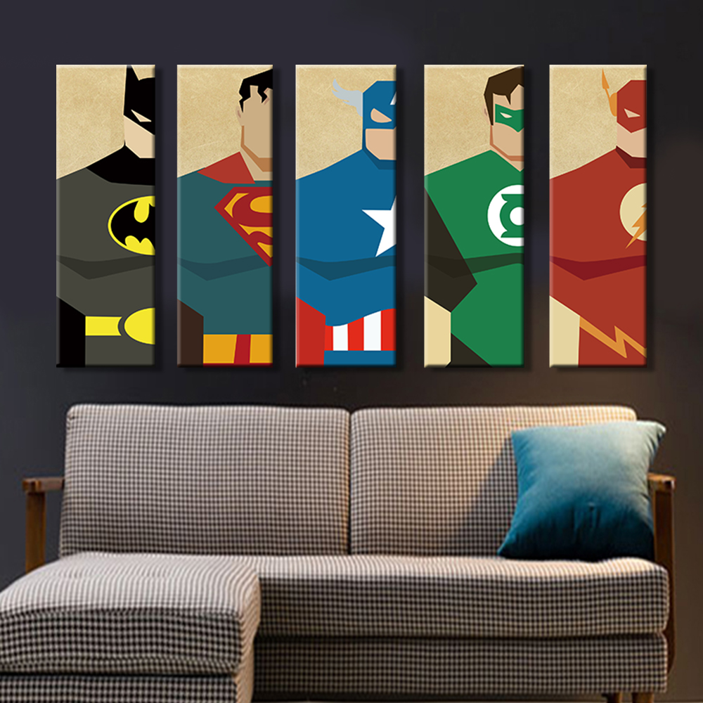 Superman Canvas Painting 5 Pieces Superhero Modern Home Wall Decor Canvas  Art HD Print Wall Pictures For Child Bedroom Unframed In Painting U0026  Calligraphy ...