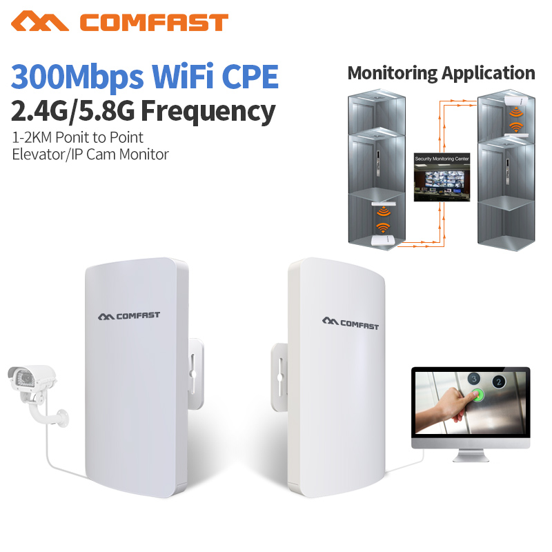 2pcs Comfast 1-3KM 300Mbps Outdoor CPE Router 2.4 & 5.8 G Wireless Access Point Router Wifi Bridge Wi-fi Extender CPE Amplifer 1 pair comfast 300mbps outdoor cpe 2 4g wi fi access point wireless bridge 1 3km range extender cpe router repeate for ip cam