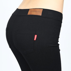 Image 5 - Mallas de tela tejidas para mujer, pantalones elásticos de cintura alta, ajustados, de Fitness, Color negro, D132, 2016