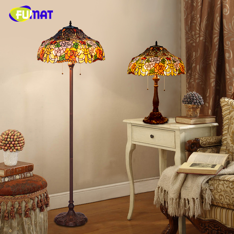 FUMAT European Tiffany Floor Lamp Rose Shade Stained Glass