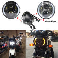 7 Inch Projector Led Headlight with Angel Eyes White Amber + 7 Inch Plastic Lamp Shell for Motorcycle Honda,Hornet,Suzuki,Yamaha