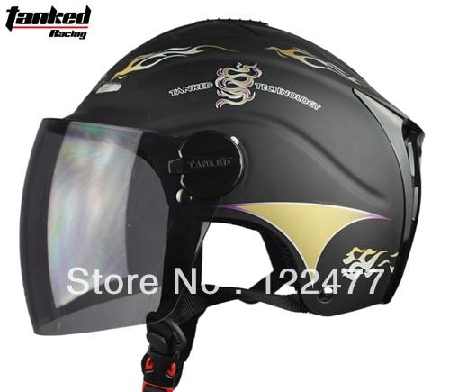 Free shipping!!! Tanked Racing motorcycle helmet summer helmet Electric Bicycle half face helmet T502 Color-Matte Black Fire