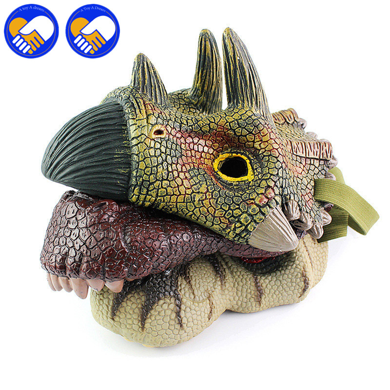 A TOY A DREAM Latex Mask Toy Tyrannosaurus rex Triceratops Mask Cosplay Carnival Dinosaur Mask Halloween Toys Props Model Toys 37 cm tyrannosaurus rex with platform dinosaur mouth can open and close classic toys for boys animal model without retail box