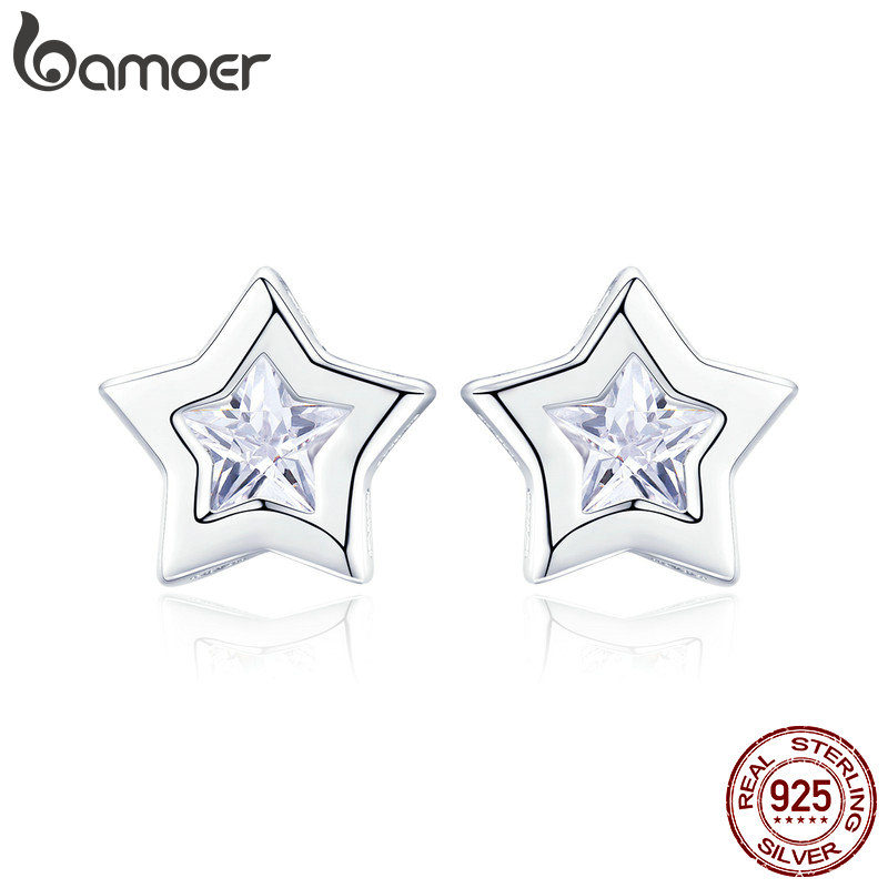 BAMOER New Arrival 925 Sterling Silver Sparkling Star Cubic Zircon Small Stud Earrings for Women Fashion Earrings Jewelry SCE437BAMOER New Arrival 925 Sterling Silver Sparkling Star Cubic Zircon Small Stud Earrings for Women Fashion Earrings Jewelry SCE437