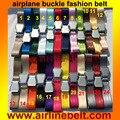 120 cm longitud ajustable aviones hebilla del cinturón de seguridad extender extensión de cinturón de correa de la manera correa para el hombre (talla L hebilla de avión)