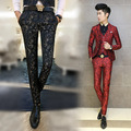 New 2016 Slim Fit Red Luxury Brand Mens Suit Pants Pantalon Trendy Flower Print Floral Vintage Baroque Club Outfit Blue Trousers