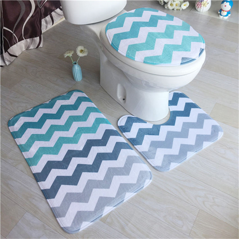 3 Pcs Bathroom Set Toilet Carpet Suit WC Mat Toilet Pattern Non-slip Carpet Mattress Bathroom Floor Mat Size 50x80 50x40 42x38