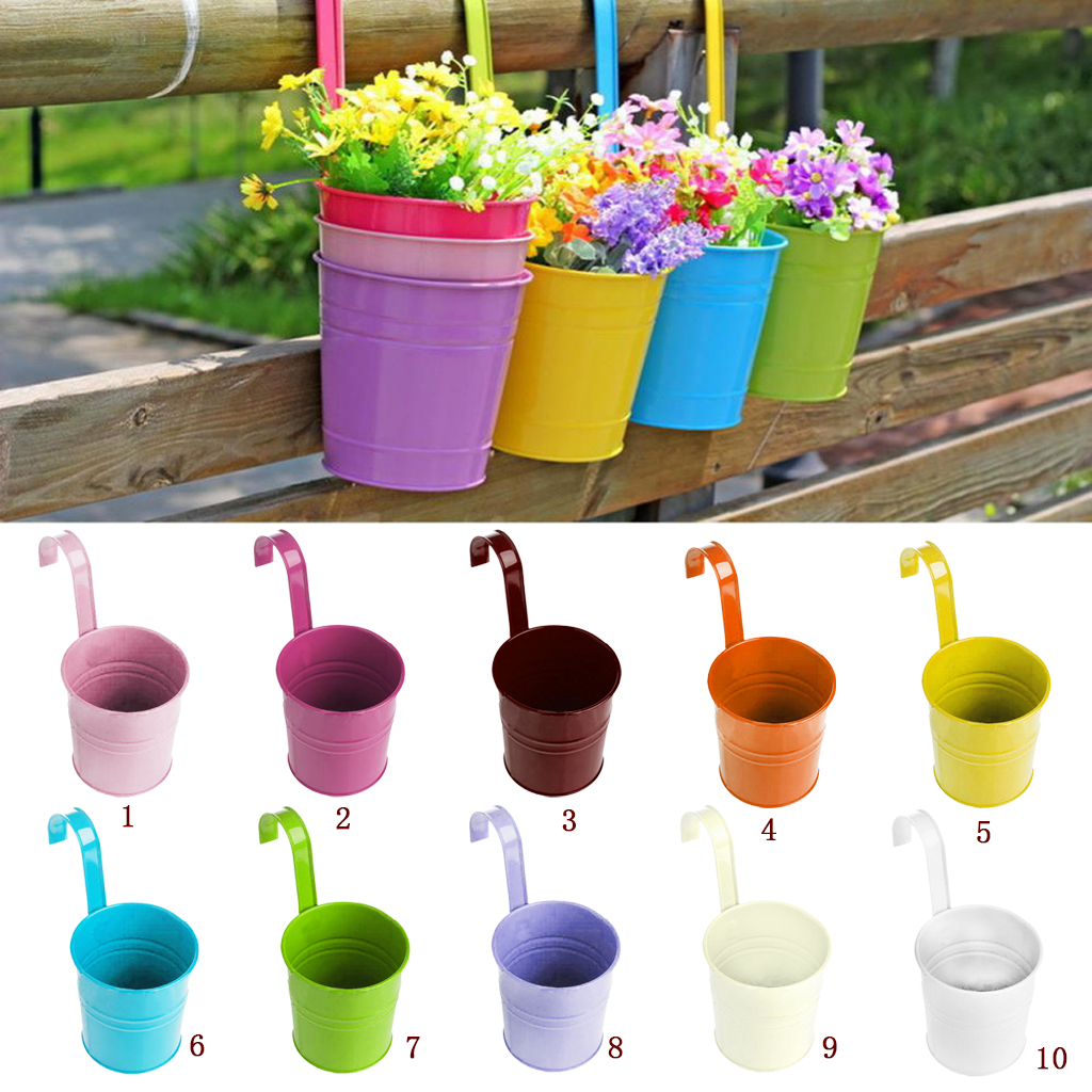 new hot metal iron hanging balcony garden plant planter flower pot diy home decorations hanging. Black Bedroom Furniture Sets. Home Design Ideas