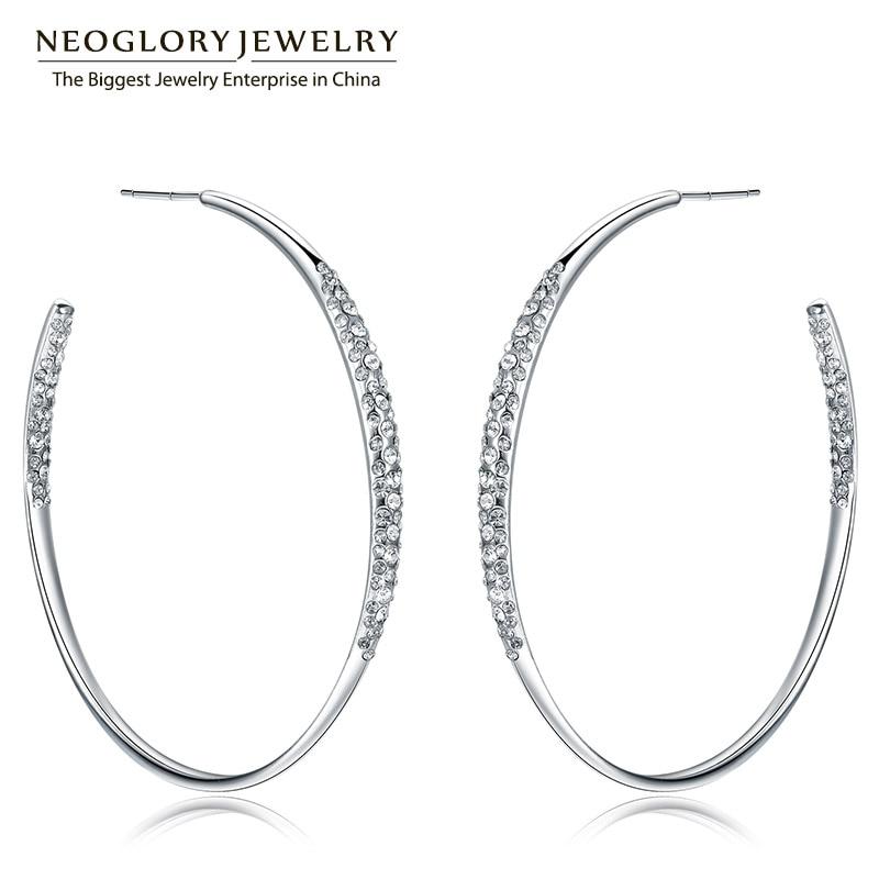Neoglory Rhinestone Long Hoop Big Dangle Drop Earrings For Women Fashion Jewelry Birthday Gifts 2018 J5 WST P1 hoop drop earrings