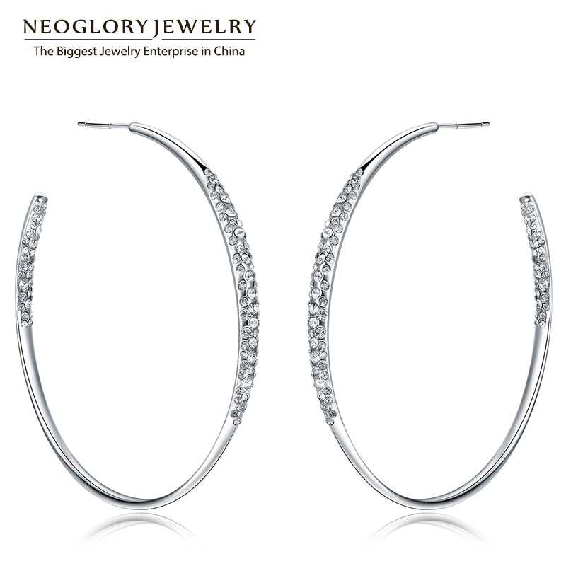 все цены на Neoglory Rhinestone Long Hoop Big Dangle Drop Earrings For Women Fashion Jewelry Birthday Gifts 2018 J5 WST P1