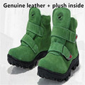 Top children boots Genuine Leather boys boots cotton-padded warm plush kids shoes