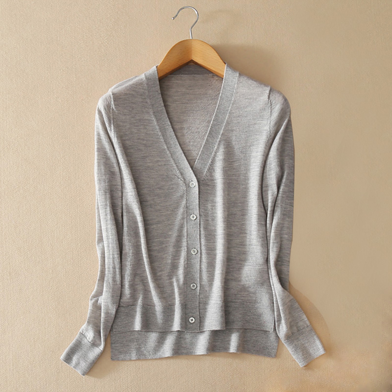Womens 100% Pure Cashmere Knitting V-neck Single Breasted Cardigan Women Summer 2018 Solid Color Ladies Tops Casual Hot Sale