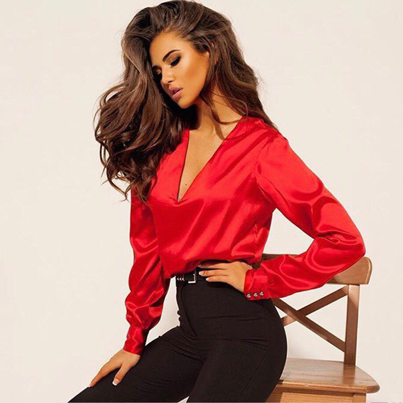 2019 Autumn Fashion Women Casual Blouse Sexy V Neck Satin Long Sleeve Button Camisa Elegant Slim Blouses Office Lady Shirts Tops