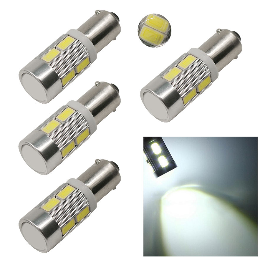 4PCS Super Bright White Bulbs BA9S 12V Auto Car LED 5730 10 SMD Lens Interior Bulbs Reading License Plate Door Light Sourse