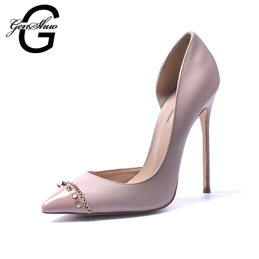 GENSHUO New Style divatszegecsek magas színvonalú hegyes lábujjak szexi női magas sarkú cipő éjszakai klub női szivattyúk Trend High Heel