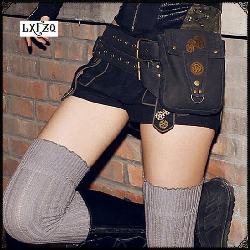 Bum sac À Vapeur Punk Banane sac Rock Toile Rétro Goth D'épaule taille sac Femmes et Hommes Cuisse embrayage femmes sac fanny pack