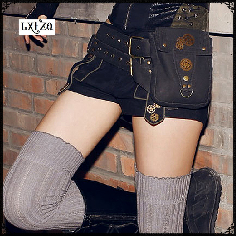 bum bag Steam Punk Banana bag Rock Canvas Retro Goth Shoulder Waist bag Women and Men Thigh clutch women bag fanny pack