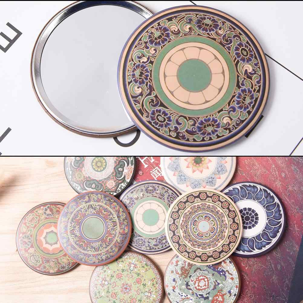 Round portable cosmetic mini vintage hand mirror small pocket mirrors Retro style makeup mirror beauty vanity mirror