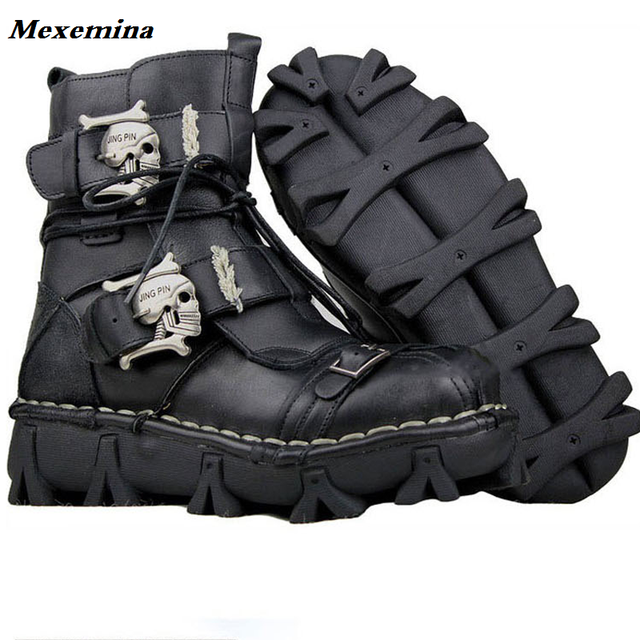 Mexemina 2018 Men s Cowhide Genuine Leather Work Boots Military Combat  Boots Gothic Skull Punk Motorcycle Martin Boots f1d0675b20