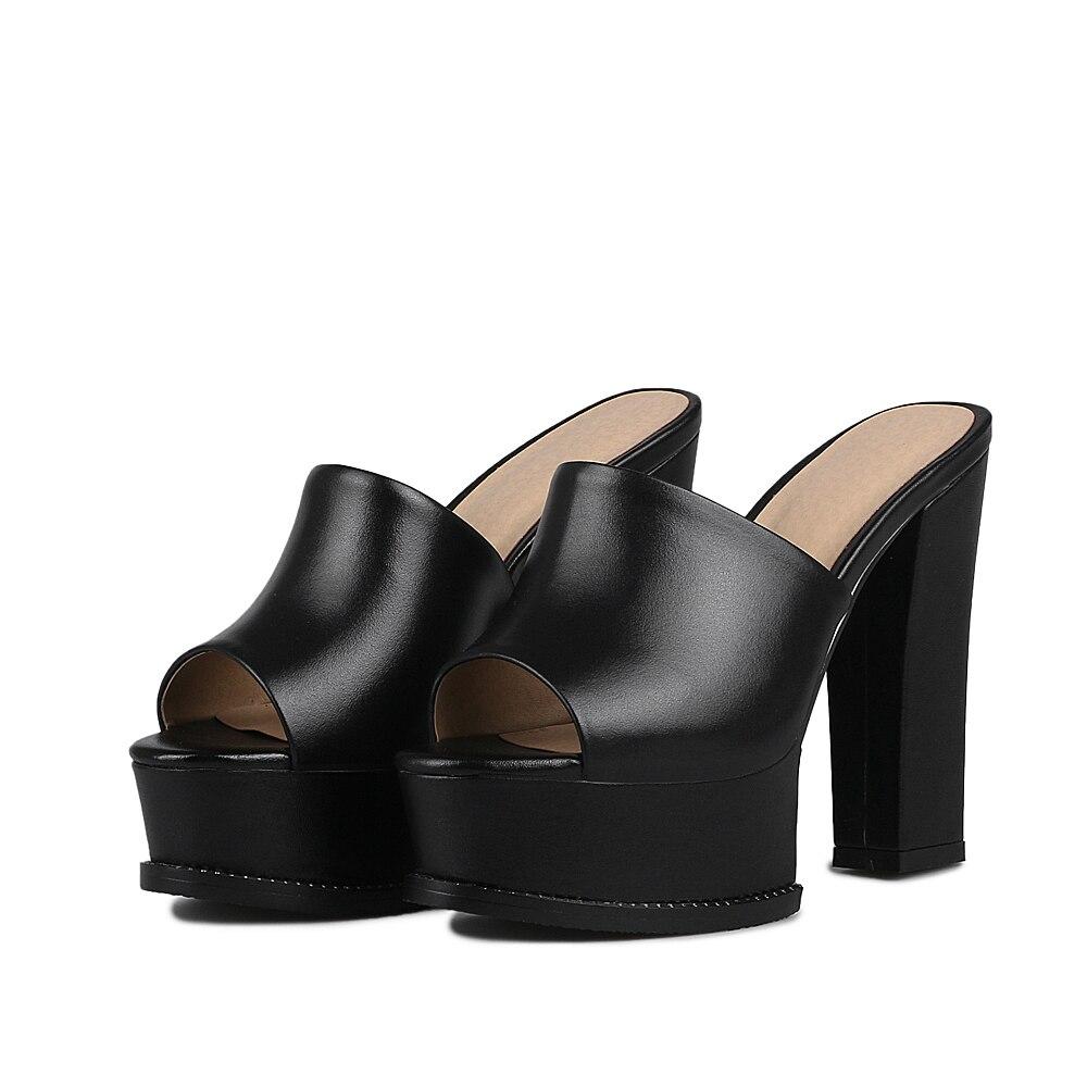 Della Grande Formato Vera Chunky In 40 Cm Peep Bianco black Toe Furtado Arden Slides 41 Alti White Pelle Pantofole Tacchi Piattaforma 12 Estate 2018 vExqUwz