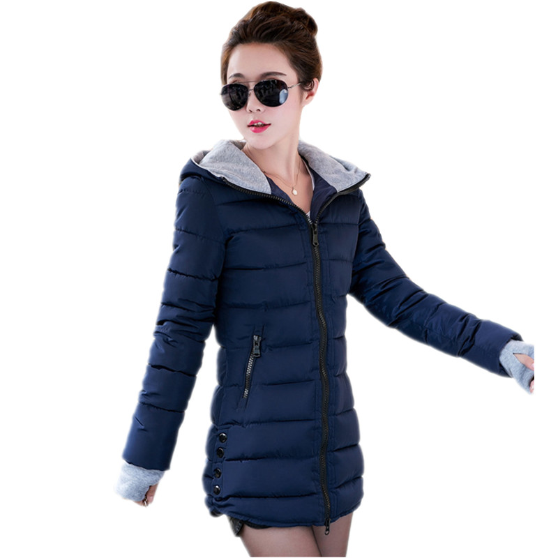 Warm Winter Jackets Women Fashion cotton padded Parkas Casual Hooded Long Coat Thicken Zipper Slim Fit Plus Size Long Parka 2019