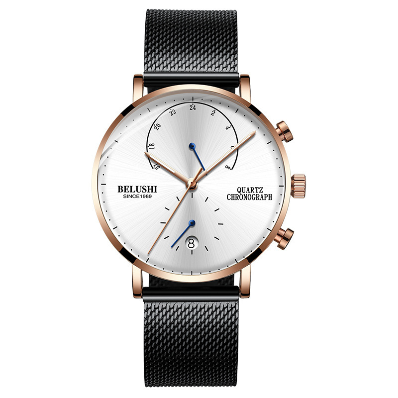 Mens Waterproof Watches Leather Strap Slim Quartz Casual Business Mens Wrist Watch Top Brand Belushi Male Clock 2018 Fashion
