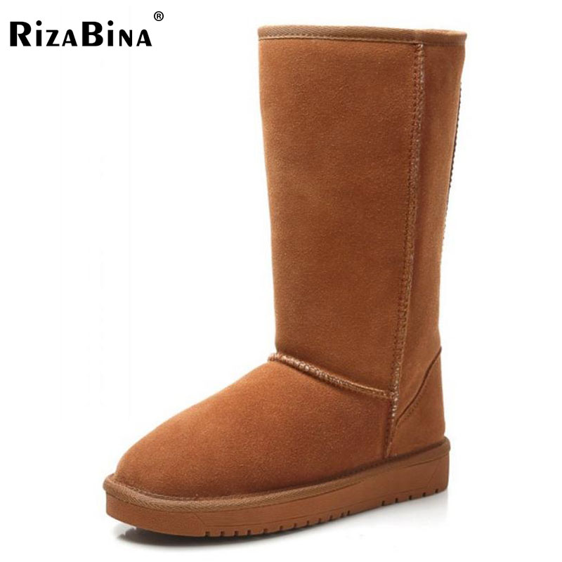 RizaBina Size 34-40 Cold Winter Snow Boots Women Real Leather Mid Calf Warm Snow Shoes Women Thick Fur Inside Short Flat Bota rizabina cold winter snow shoes women real leather warm fur inside ankle boots women thick platform warm winter botas size 34 39