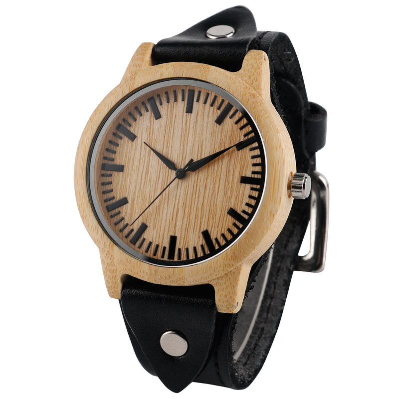 Handmade Creative dřevěné hodinky pravý kožený pásek popruh - Pánské hodinky