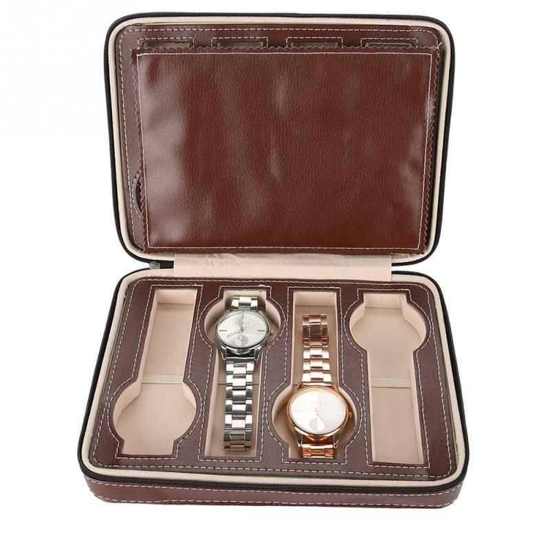 1 Stück 8 Grids Uhr Display Lagerung Box Zipper Reise Sammler Fall Organizer (braun)