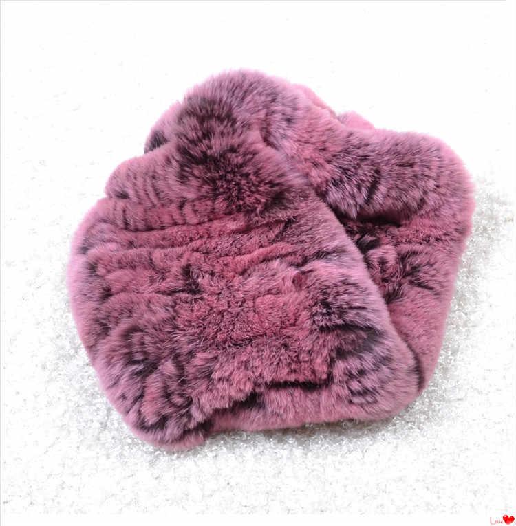 リアルレックスウサギの毛皮の女性の秋の冬暖かいニット毛皮ヘッドバンド女性暖かい冬アクセサリーブルーピンク 8 色 S103