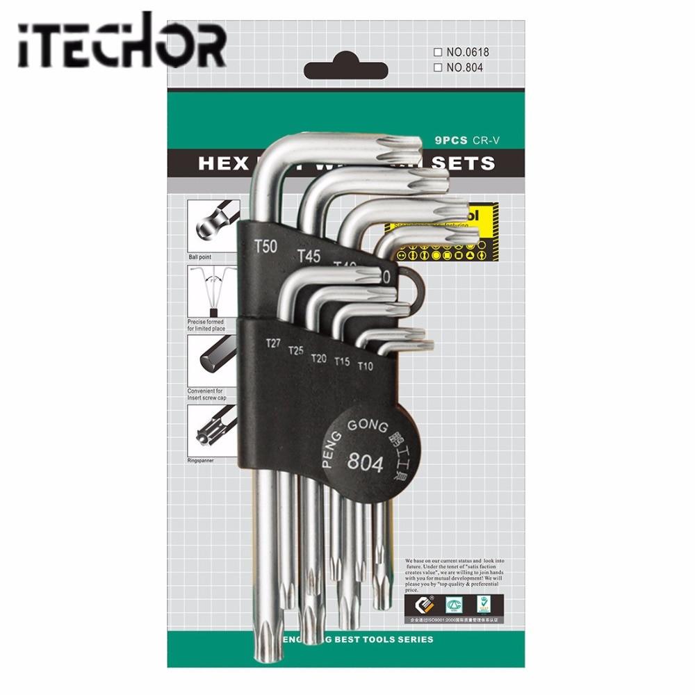 iTECHOR 9PCS L-shape Hex key Set Torx Star Hex Wrench Tool Set with Holes Hardware Tool Kit - Silver + Black Clip multifunction carabiner clip multi tool set silver black 3 x ag1