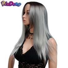 DinDong Straight Synthetic Wigs for Women Ombre Grey Brown Green Natural Hair Wig 24 Inch Cosplay Middle Part Long Wig(China)