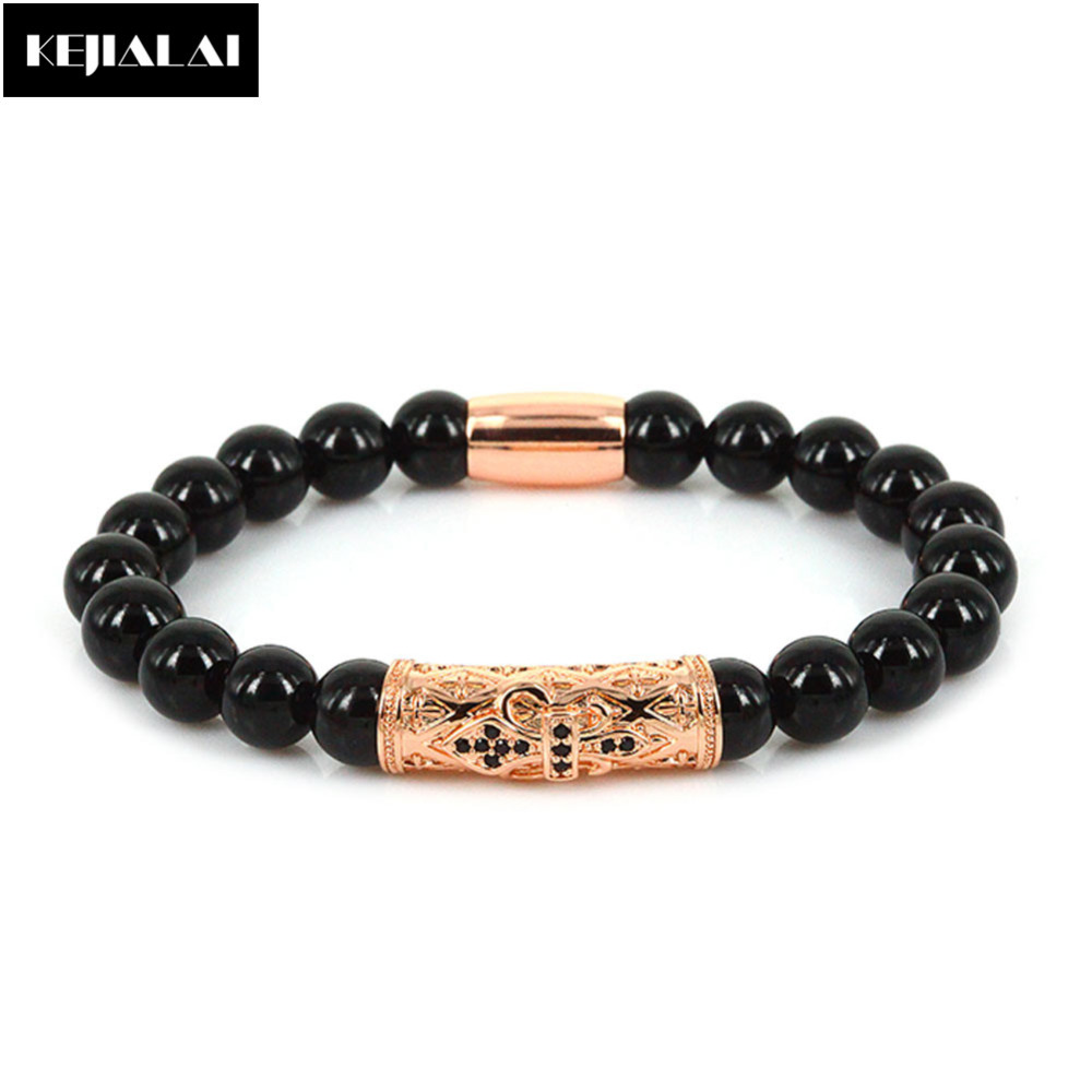 8mm natural black stone beads bracelet men 2017 fashion Vintage style fashion rings