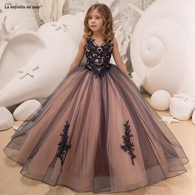 Pageant   dresses   for girls2019 new tulle applique sexy neck black watermelon red fluffy   flower     girl     dress   long communion   dresses