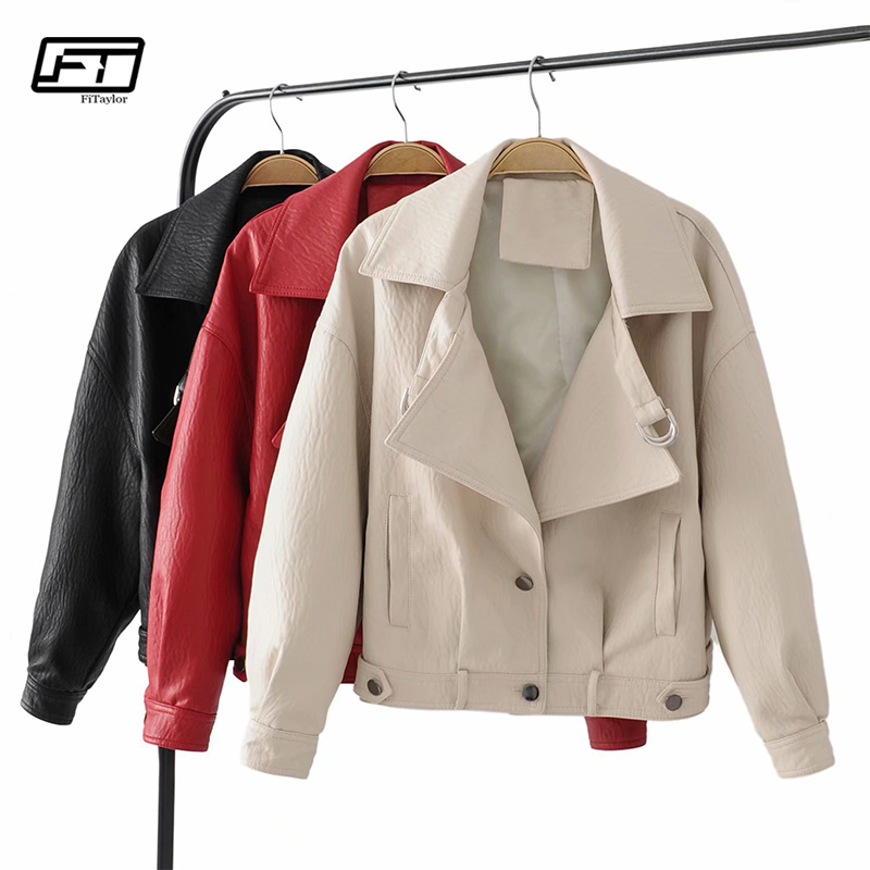 Fitaylor Autumn Winter Women PU   Leather   Jacket Casual Faux   Leather   Jackets Basic Motorcycle Outwear Black Red Biker Coat