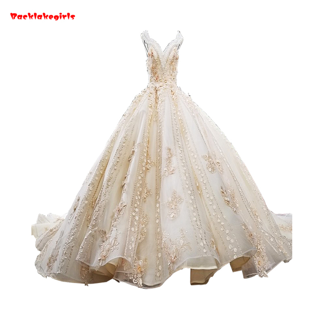 2bb0a8dd25a 01474 Champagne Colored Vintage Lace Wedding Dress Sexy Deep V-neck Gold  Thread Embroidery Flowers