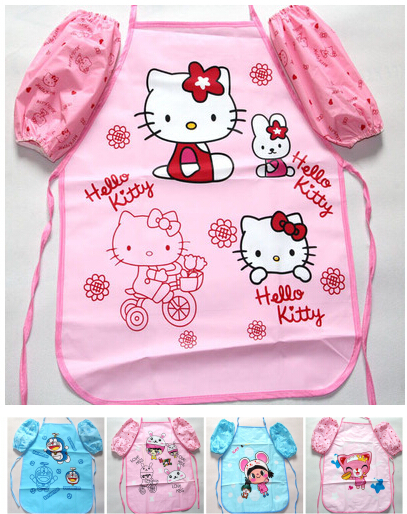 10 Sets/lot Waterproof Pvc Quality Cartoon Hello Kitty Doraemon Rabbit 1~4 Years Children Girl Drawing Dinner Aprons Kit Attractive Designs; Motivated