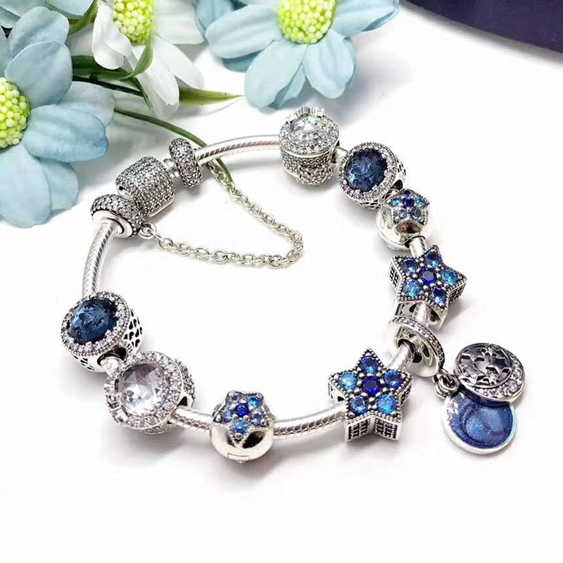 Top Quality Sea World Blue Star Pendant Series Charm Luxurious Jewelry 925 Sterling Silver Heart Locket Charm Bangle For Girls bisaer 7pcs 925 sterling silver heart key and locket heart pendant brand charm bracelet for women wedding silver bangle gxb811