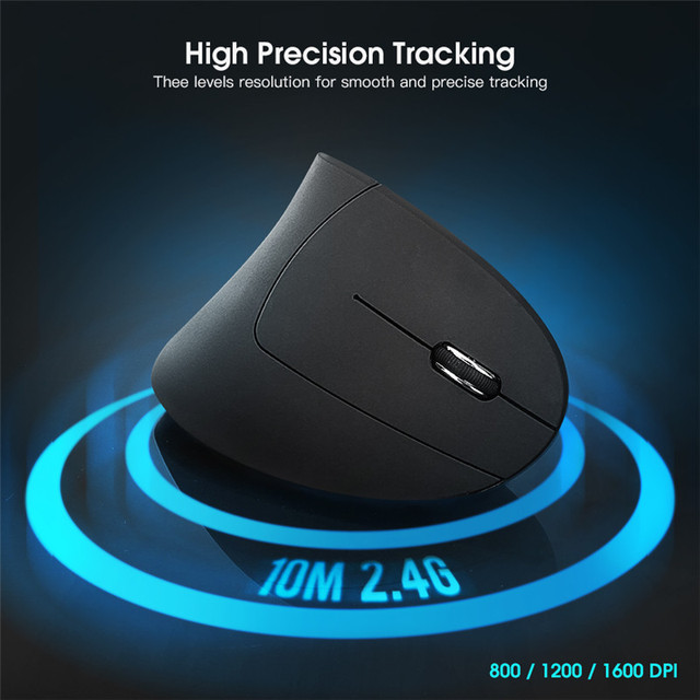 Mantistek VM2 2.4GHz Wireless Ergonomic Vertical Mouse 1600DPI Adjustable Left Hand Right Hand Version Optical Mice 1