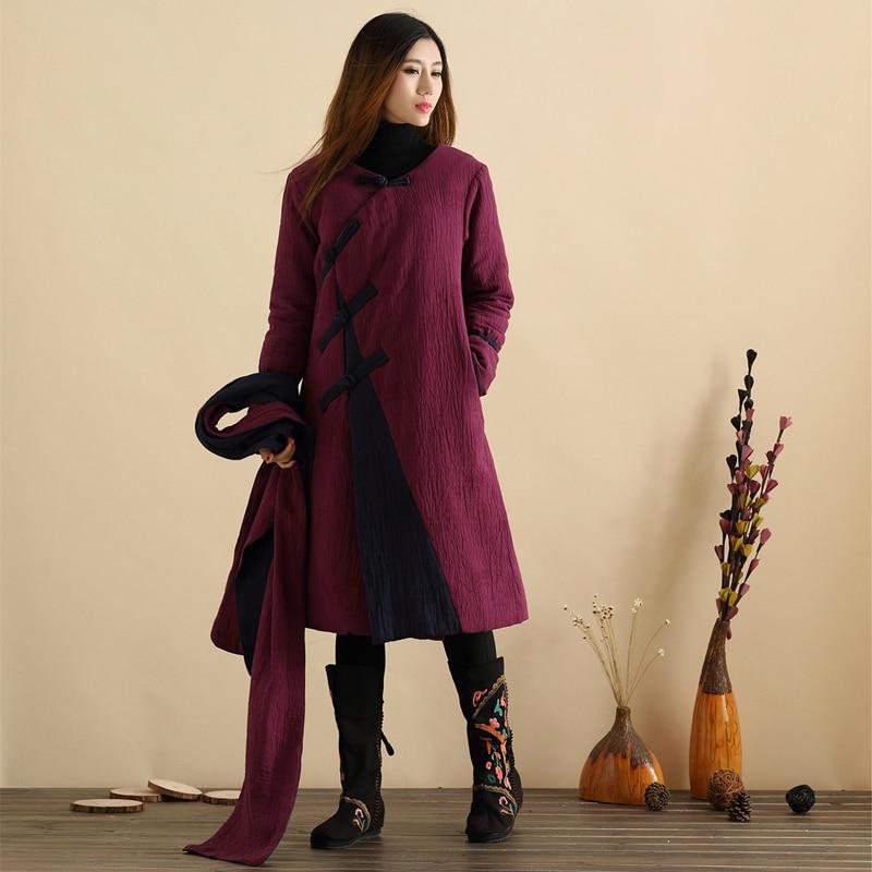 Sonbahar Wadded Uzun Ceket Çin Tarzı Uzun Ceket Kadın Ceket Kış - Bayan Giyimi - Fotoğraf 4