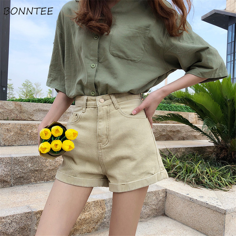 Shorts Women Retro Chic Summer 2020 Trendy High Slim Solid Womens Daily Fashion Ladies Zipper Crimping Denim Short Comfortable