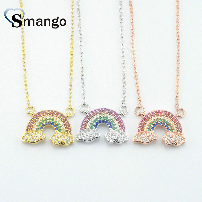 5Pieces The Rainbow Series Women Fashion Rainbow Shape CZ Prong Setting Necklace and Pendant 3 Colors Can Wholesale in Chain Necklaces from Jewelry Accessories