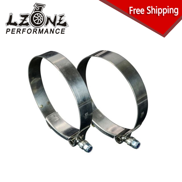 LZONE RACING - FREE SHIPPING (2PC/LOT) 3.75 CLAMPS (98-106)STAINLESS SILICONE TURBO HOSE COUPLER T BOLT CLAMP KIT HIGH QUALITY