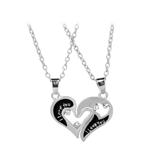 I love you Necklaces 2 Lovers Black Enamel Rhinestone heart Necklace Best Friend Necklace Christmas Gift for bestfriends couples