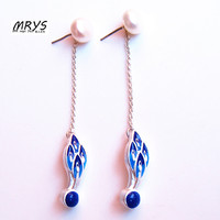 Blue Freshwater Pearl Feather Earring Studs 925 Silver Chain Ethnic Cloisonne Enamel Fashion Jewelry Women Chirstmas Gift New