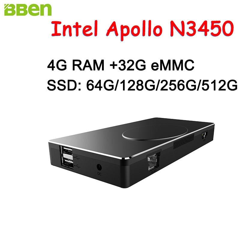 BBEN Intel Mini PC Windows 10 Intel Apollo N3450 Mini PC 4GB RAM 32GB ROM HDMI RJ45 Type C WiFi BT4.0 Stick PC Mini Computer PC